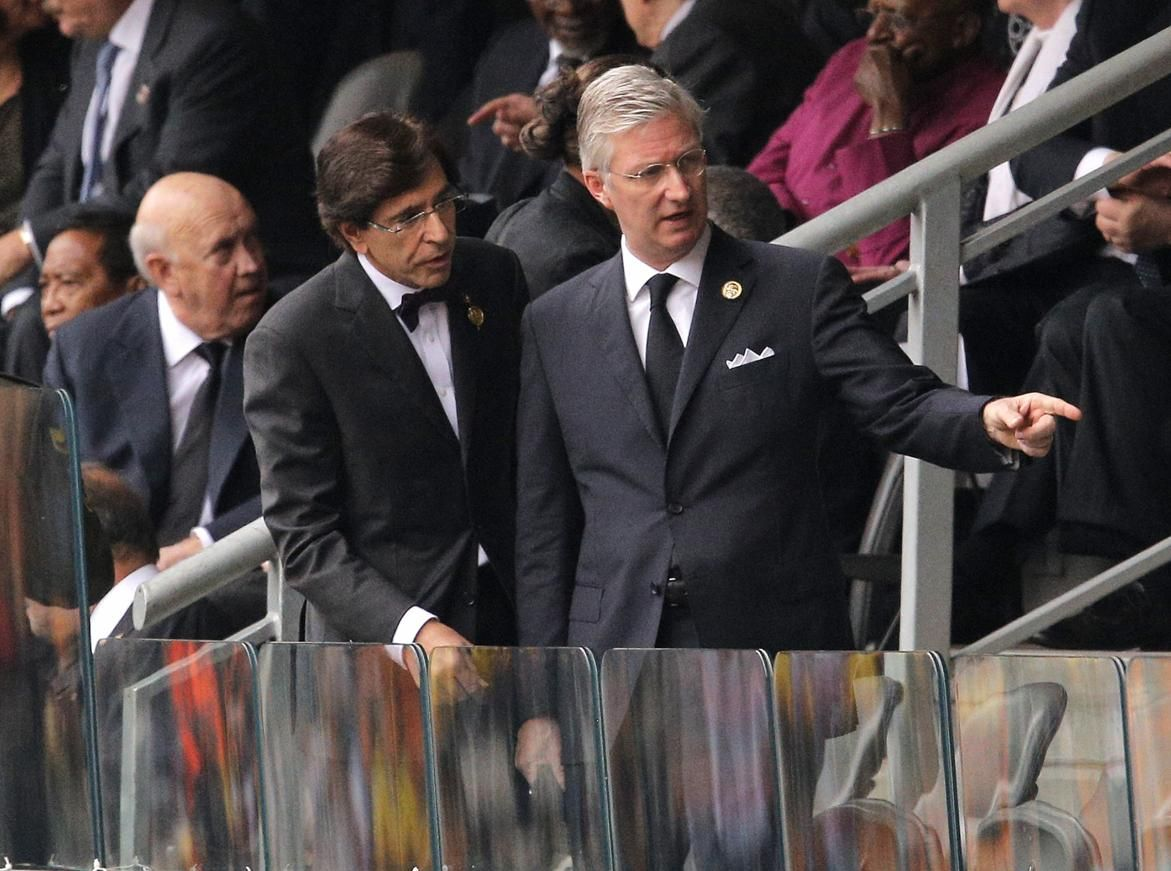 Belgian Prime Minister Elio Di Rupo, left, and Belgian King Philippe arrive for the memorial service for former South African president Nels...