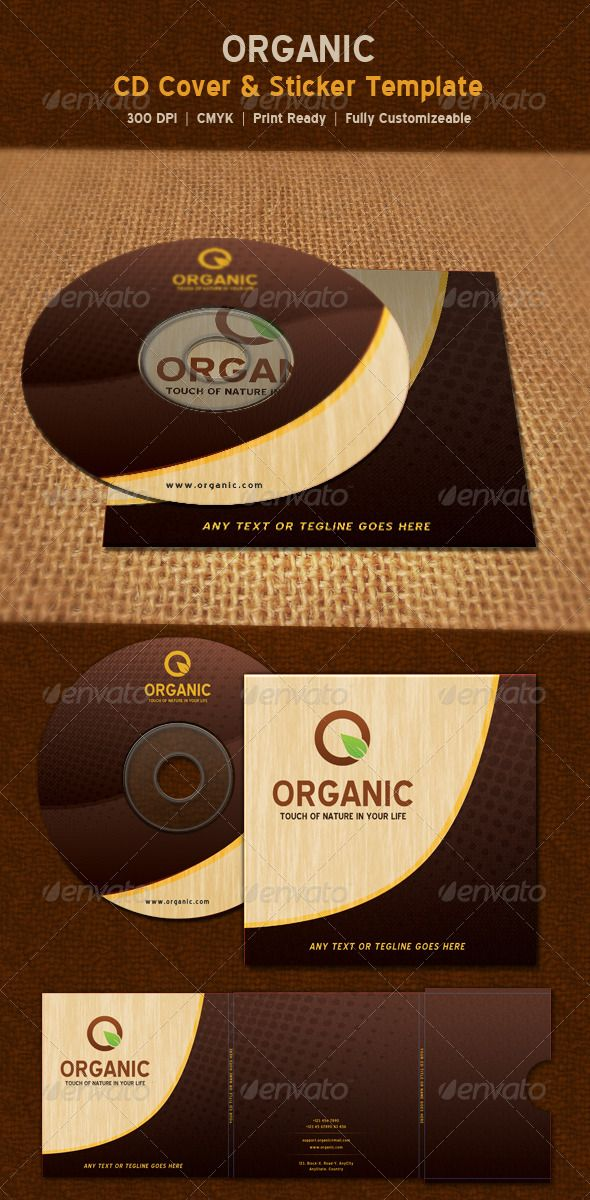 Organic Nature CD Sticker \ Package Template Template, Print - psd album cover template