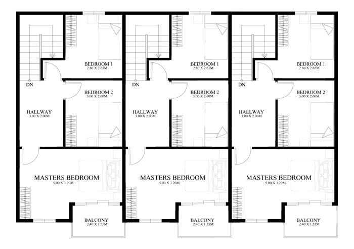 Townhouse Plans Php2014010 Second Floor Plan Townhouse Designs Small Apartment Building Design House Design Pictures