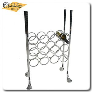 Wine Rack Ultra Chrome Finish Golf Club Theme Home Garden And Patio Furniture