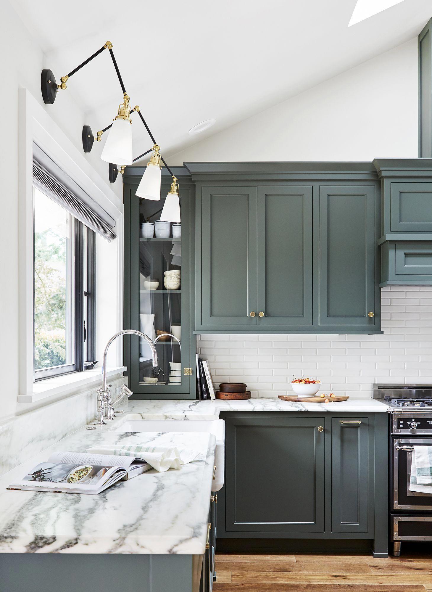 Pewter Green Sherwin Williams Cabinets Also House Tour For Ehd Pdx House Modernkitchen Arredamento Casa Cucina Retro Idee Per La Cucina