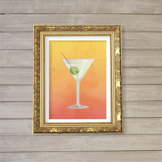 One Martini Is Not Enough 8x10 Kitchen Decor Tail Art Print Instant