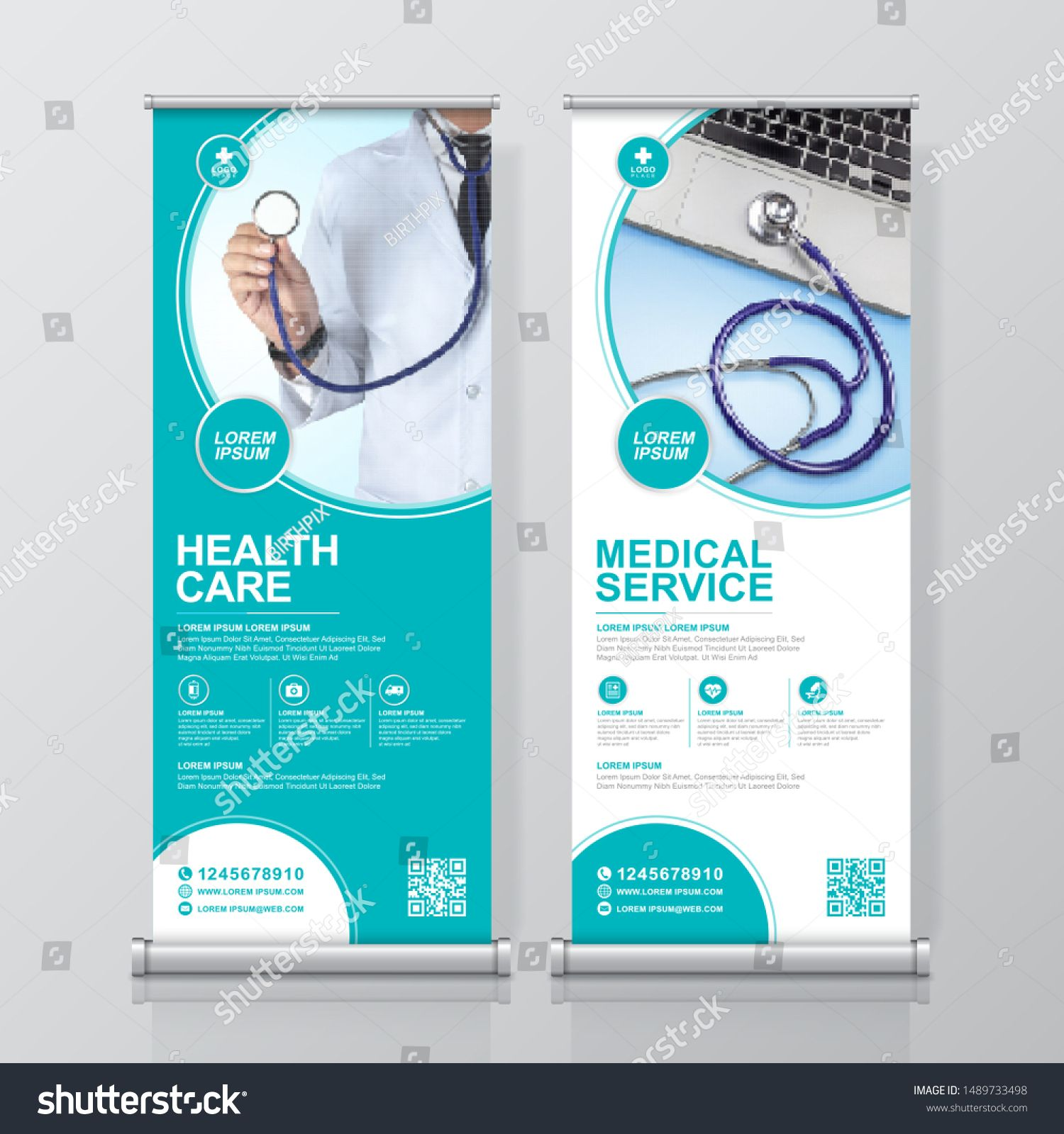 Healthcare And Medical And Flat Icons Roll Up Design Standee And