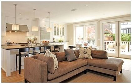 Small living room kitchen combo traditional kitchen for Kitchen family room combo floor plans
