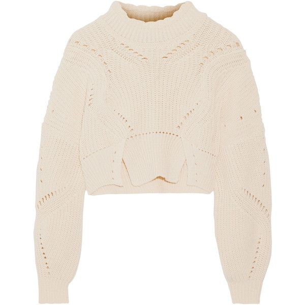 Isabel Marant Gane cropped pointelle-trimmed cotton and wool-blend... (€245) ❤ liked on Polyvore featuring tops, sweaters, shirts, ecru, cotton mock turtleneck, pink turtleneck sweater, cropped sweaters, pink cropped sweater and mock turtleneck shirts