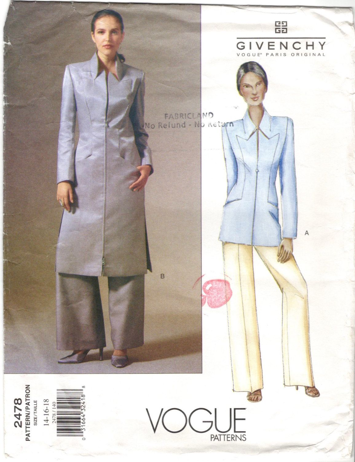 Alexander McQueen for Givenchy long jacket & pants pattern   Etsy ...