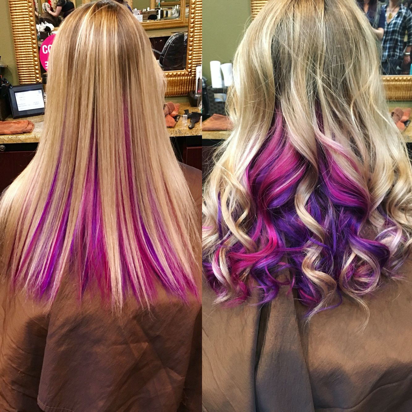 This Where The Fun Colors Aren T Super Evident Until You Curl Your Hair Peekaboo Hair Kids Hair Color Hair Color Purple