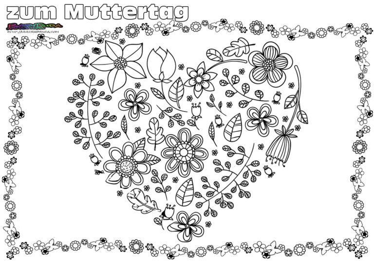 Muttertag Ausmalbild Malvorlage Gruss Mit Herz Babyduda Malbuch Muttertag Malvorlagen Muttertag Ausmalen