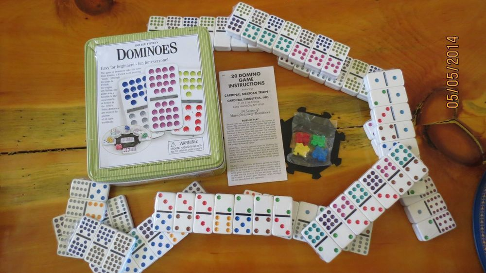 New Double 15 Fifteen Dominoes Mexican Train Domino Game Family Fun