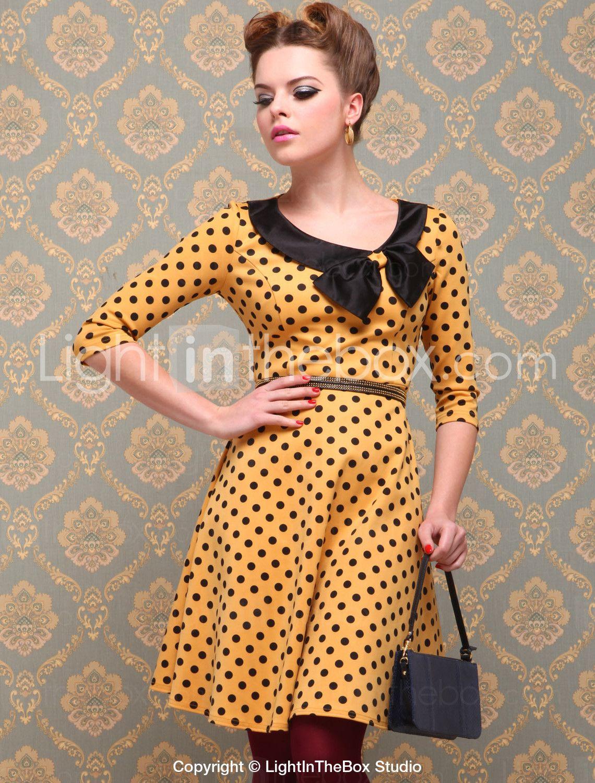 Yellow + Black Polka Dot Vintage Style Dress #pinup #vintage #dress #1950s    I'd definitely rock this at work.