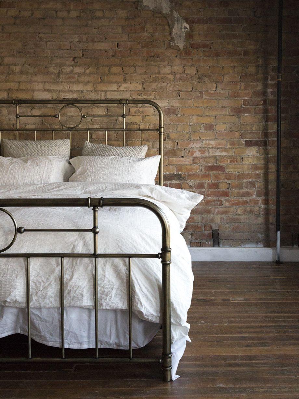 Antiqua Bronze Queen Bed in 2020 Bed, Brick wall bedroom