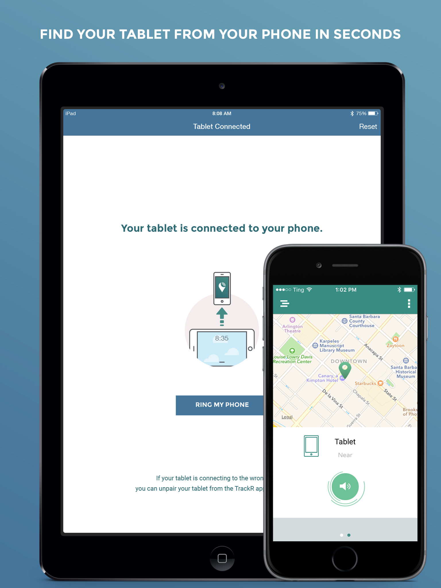 TrackR tablet Locate Lost or Missing Device Finder