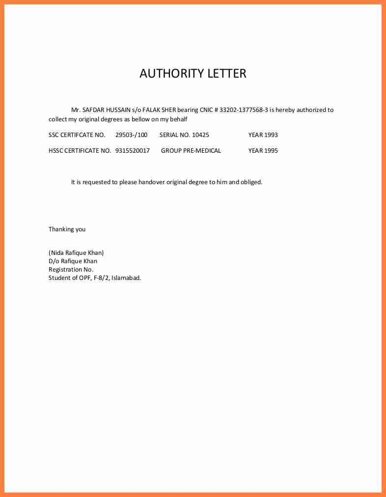 authorization letter sample receive documents life