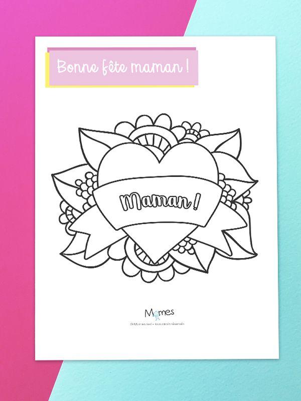 Coloriage Joli Coeur Pour Maman Dessin Maman Coloriage