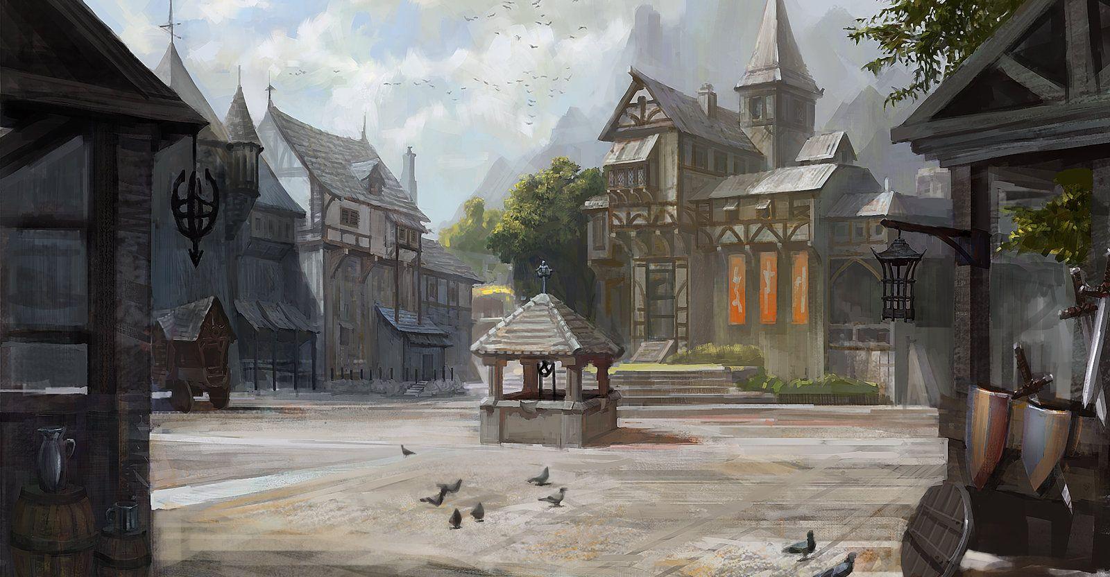 Ligang Zheng The Medieval Town Jpg 1600 832 Fantasy Town Fantasy Landscape Fantasy City