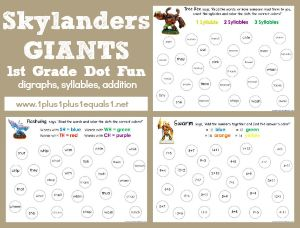 11111st Grade Printables Education Pinterest Skylanders