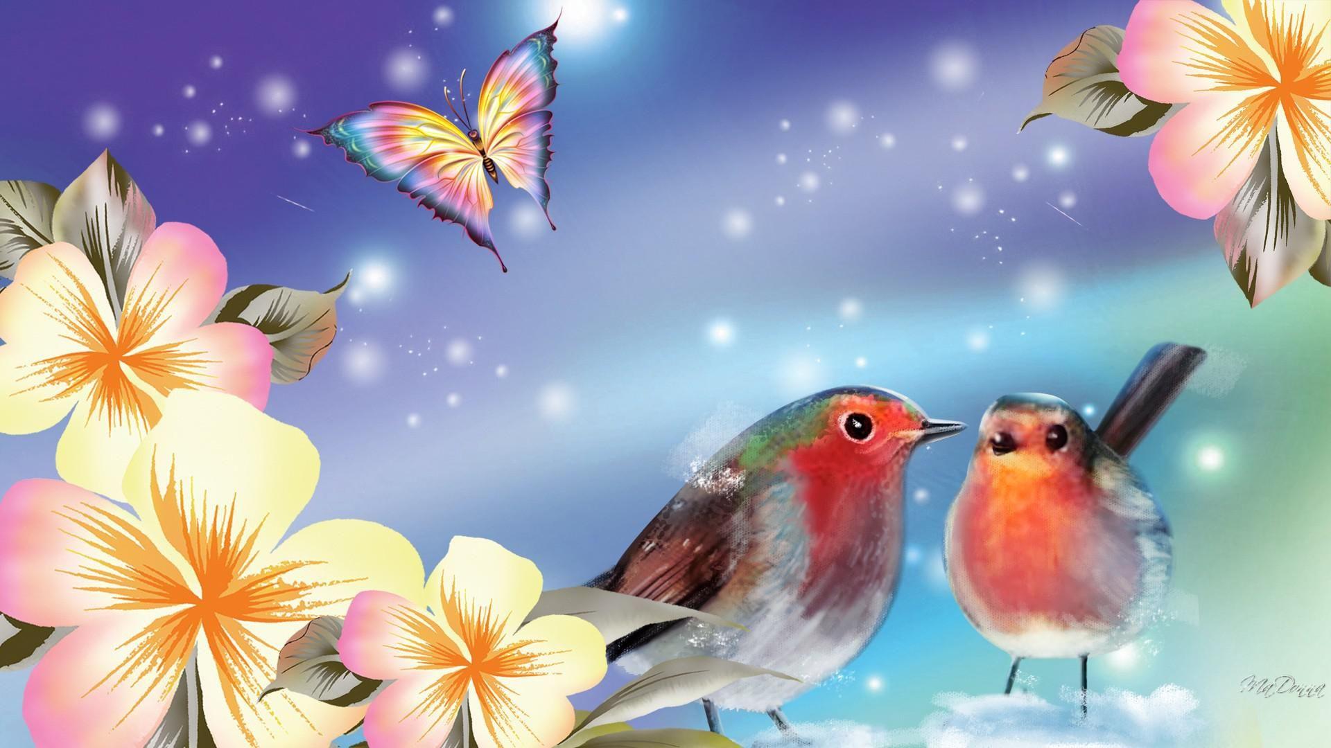 Pretty Background And Birds Art Wallpaper Birds Butterflies Abstract Waves