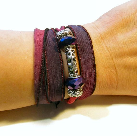 Silk Yoga Wrap bracelet in purple and burgundy by MontanaMagic, $20.00