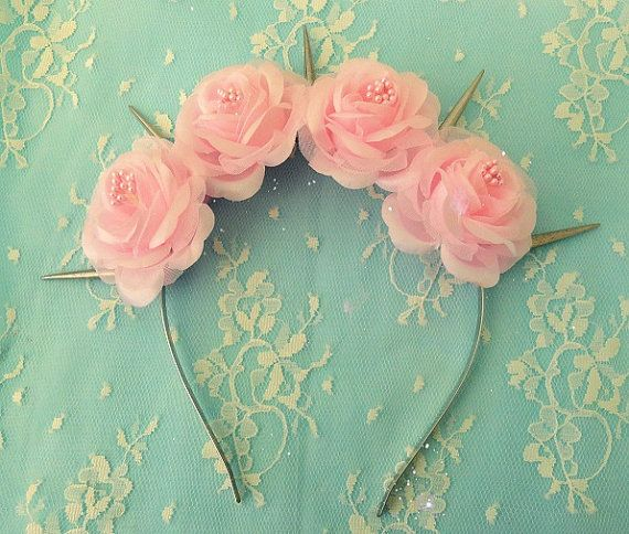 Angel- Pastel Goth Pink Silk Roses Flower crown with Silver White Spikes (Lana…