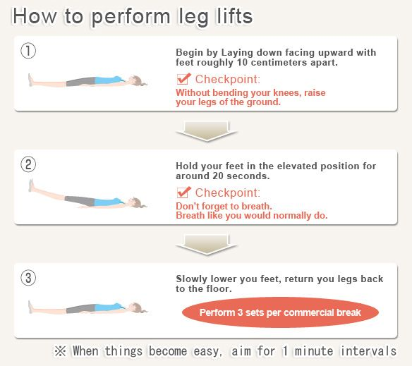 Ab exercise to get off the couch >> Leg Lifts