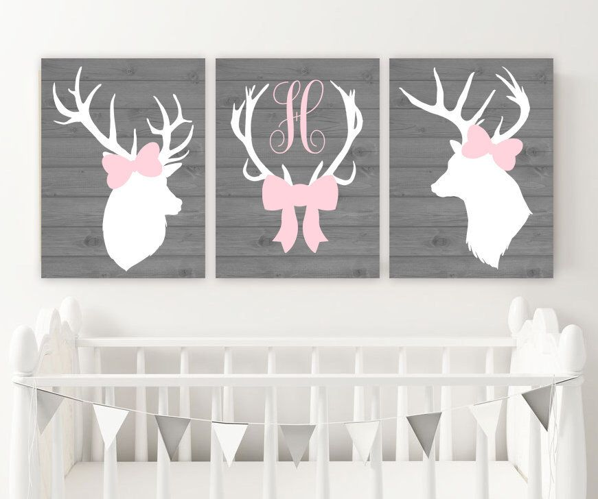 Girl Deer Wall Art Girl Deer Nursery Decor Canvas Or Prints Pink Gray Nursery Decor Deer Head An Deer Nursery Girl Baby Girl Deer Nursery Girl Nursery Pink