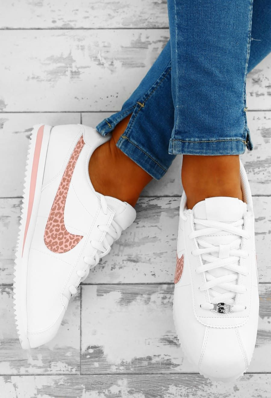 finest selection efad6 a33ad Nike Cortez White and Pink Leopard Trainers - UK 3 | Shoes | Nike ...