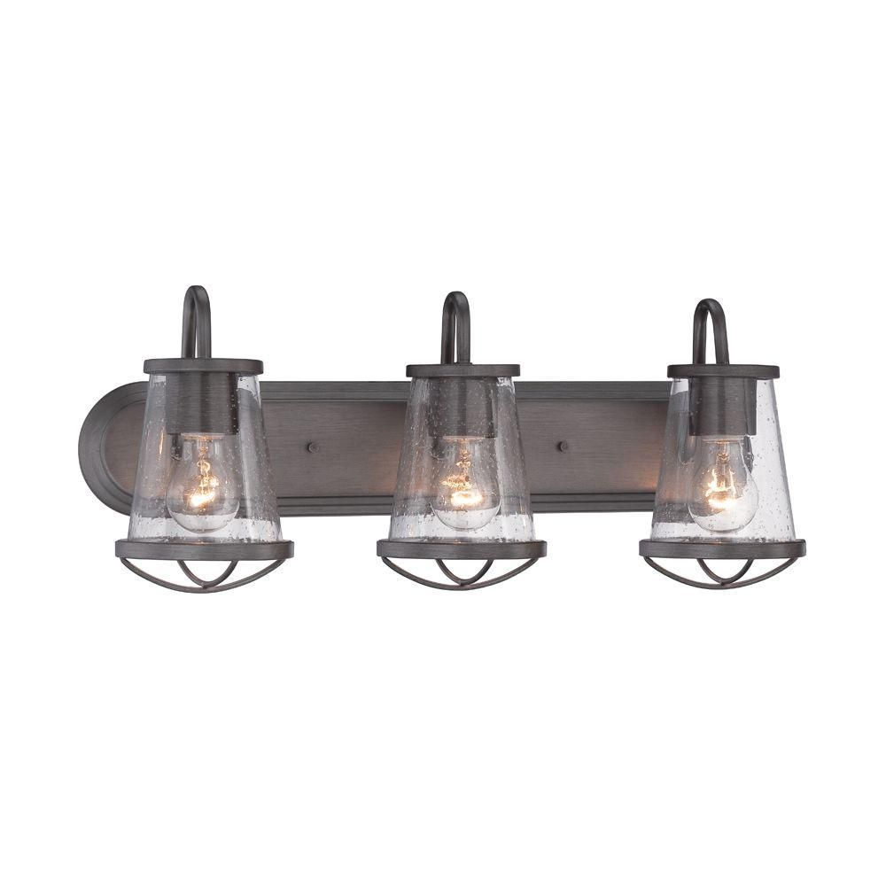 Designers Fountain Darby 3 Light Weathered Iron Bath Bar Light 87003 Wi The Home Depot Rustic Bathroom Lighting Bathroom Vanity Lighting Vanity Light Fixtures