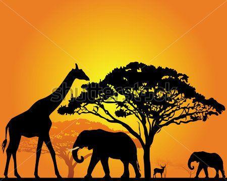 Plantillas De Africanas Buscar Con Google Paisajes De Africa Arte Colorido Siluetas Animales