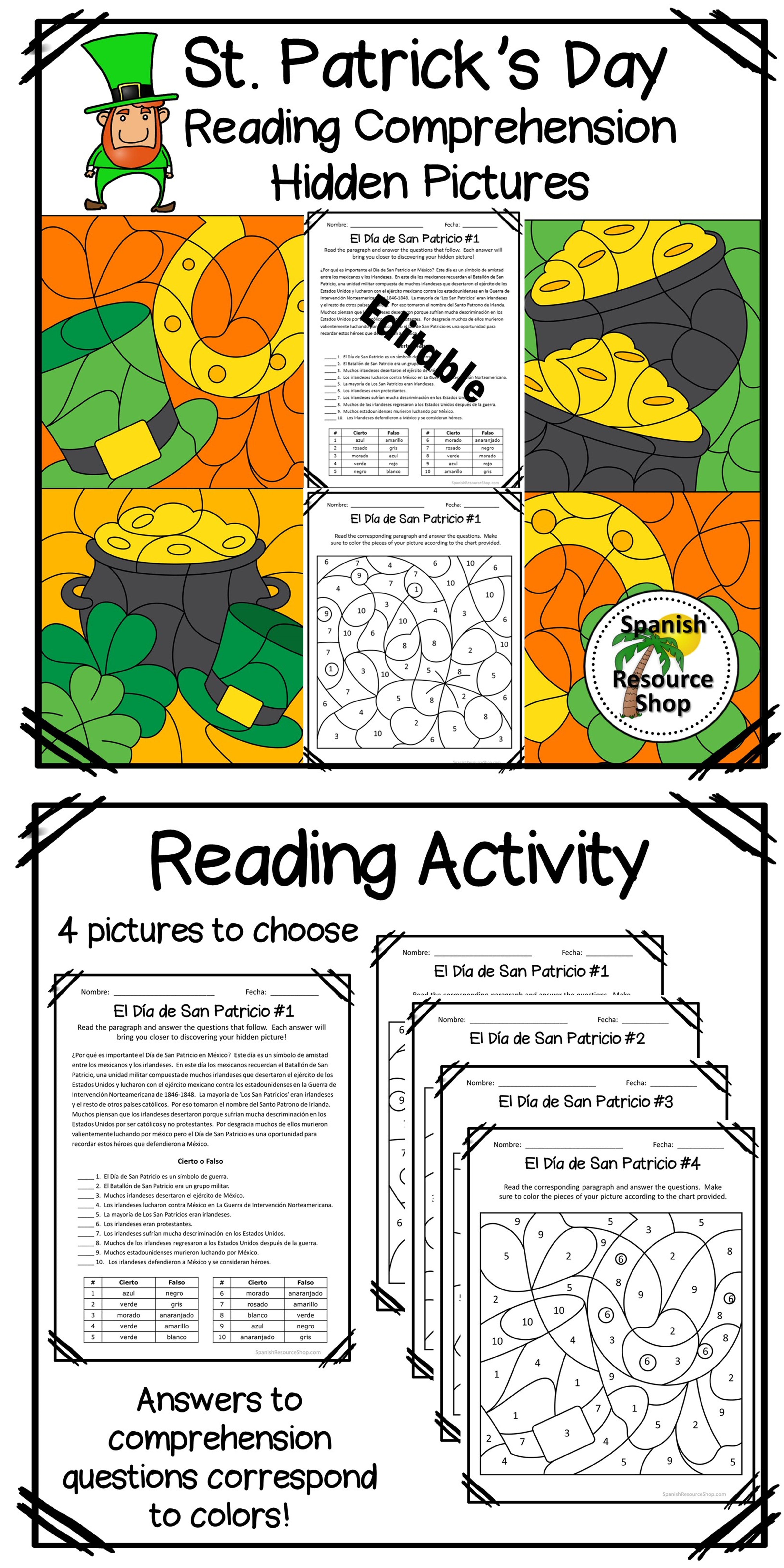Spanish St Patrick S Day Reading Comprehension Hidden