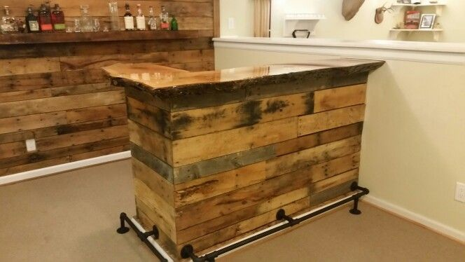Pallet Wood Bar With Live Edge Slab Red Oak Top Pallet