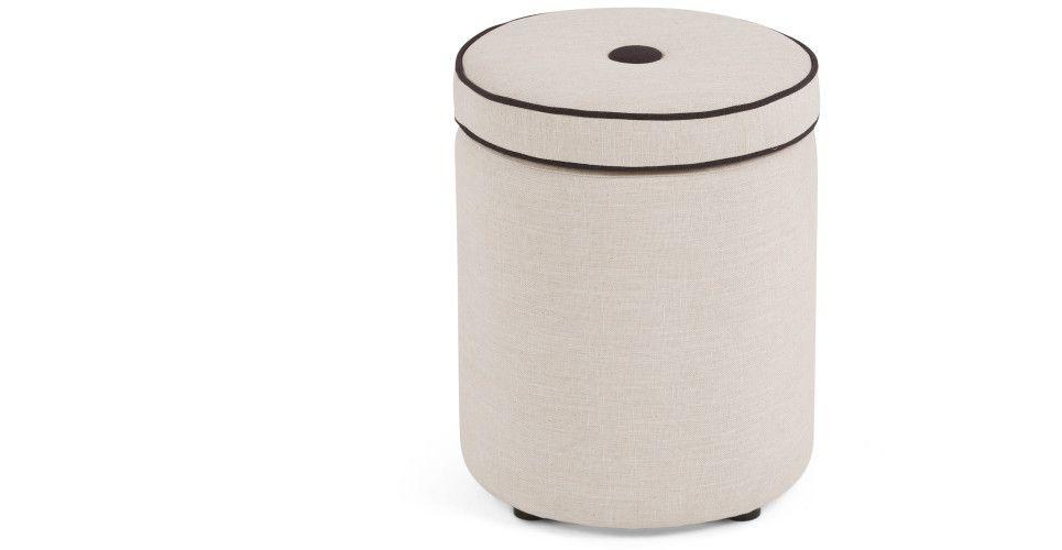 Sgabello contenitore bergerac grigio prietra con bordini in