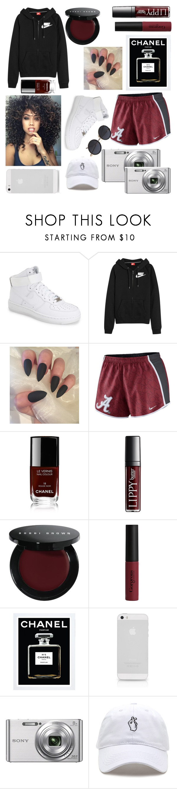 """Alabama"" by jaiylahmonae ❤ liked on Polyvore featuring NIKE, Chanel, Bobbi Brown Cosmetics, Gorgeous Cosmetics and Sony"