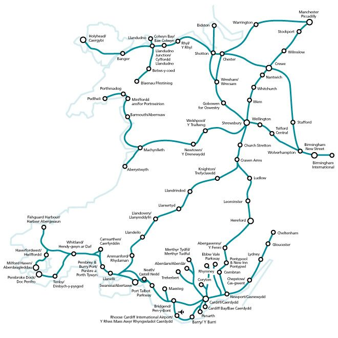 Arriva Trains Wales Map Network Map for Homepage IMG | South wales | Wales, Wales uk, Ireland Arriva Trains Wales Map