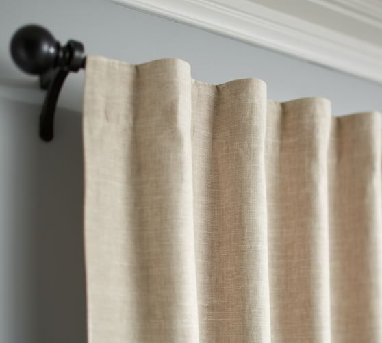 Emery Linen Cotton Pole Pocket Curtain Blue Dawn Linen