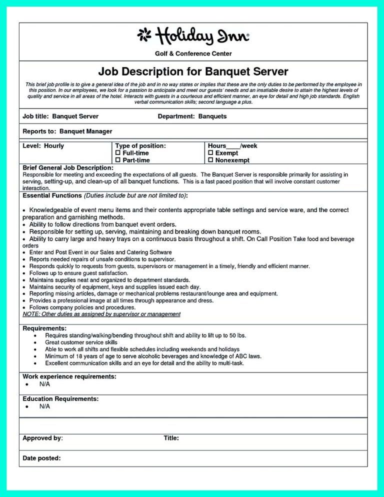 Cocktail Server Resume No Experience