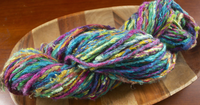 Super Bulky Art Yarn- Hand Spun Silk- 80 yards #etsy #silk #rainbow #6superbulky #handspunyarn #silkyarn #yarn