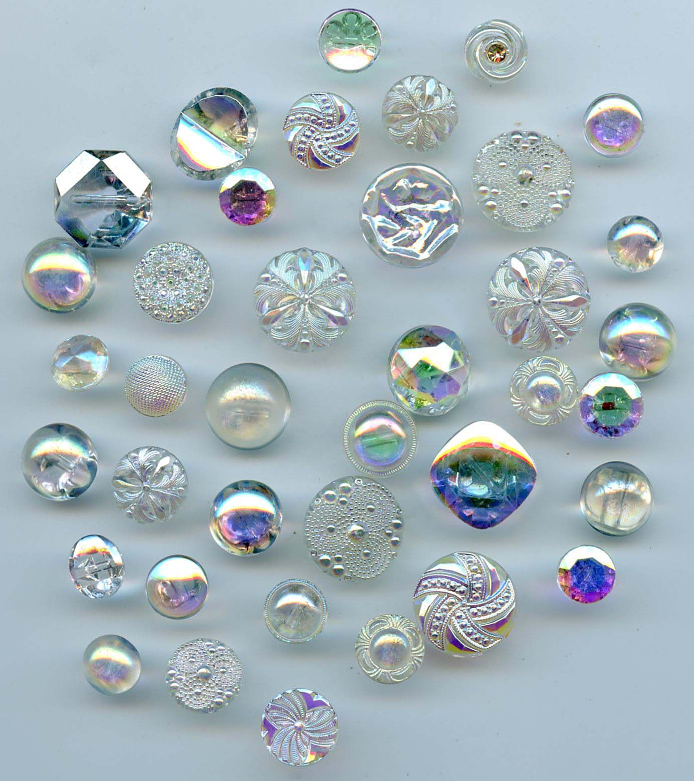 SOLD: Aurora clear glass buttons 38 vintage buttons  $22.00