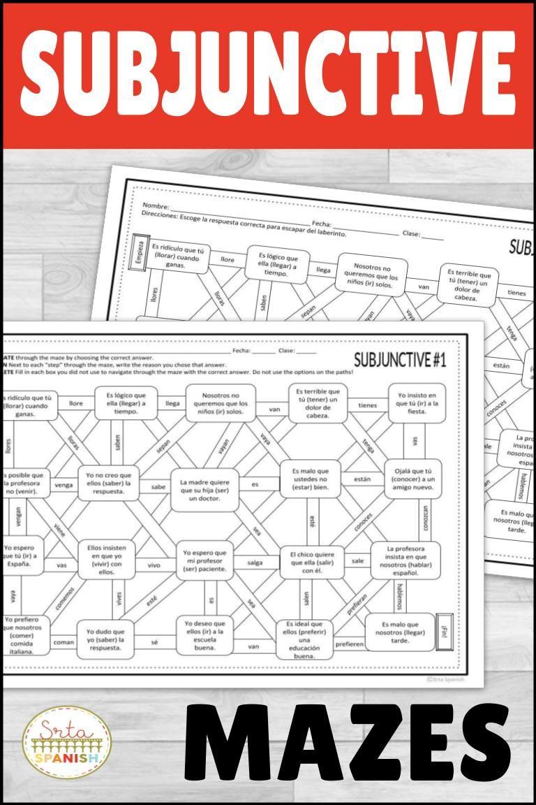 Present Subjunctive Spanish Maze Practice Activity With Digital Option Spanish Teaching Resources Spanish Lesson Plans High School Spanish