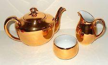 Porcelain Teapot Pitcher Sugar Creamer Royal Worcester Fireproof Lustre Gold VTG