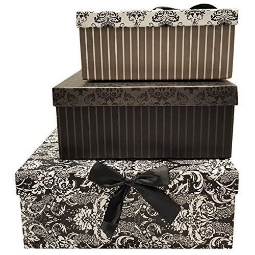 Decorative Boxes Vintage Striped Floral Storage Nesting Box Gift Set Of 3 Home #DecorativeBoxes
