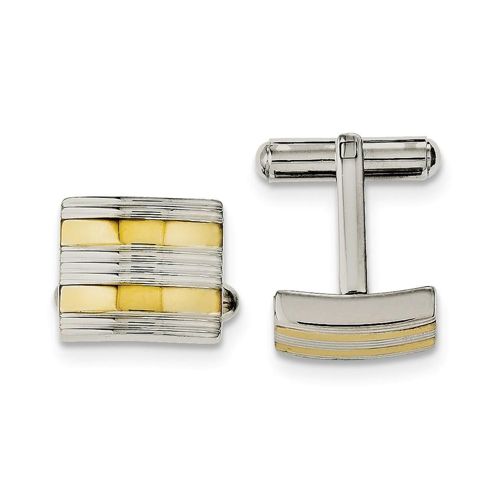 Stainless Steel Polished Enameled Cufflinks