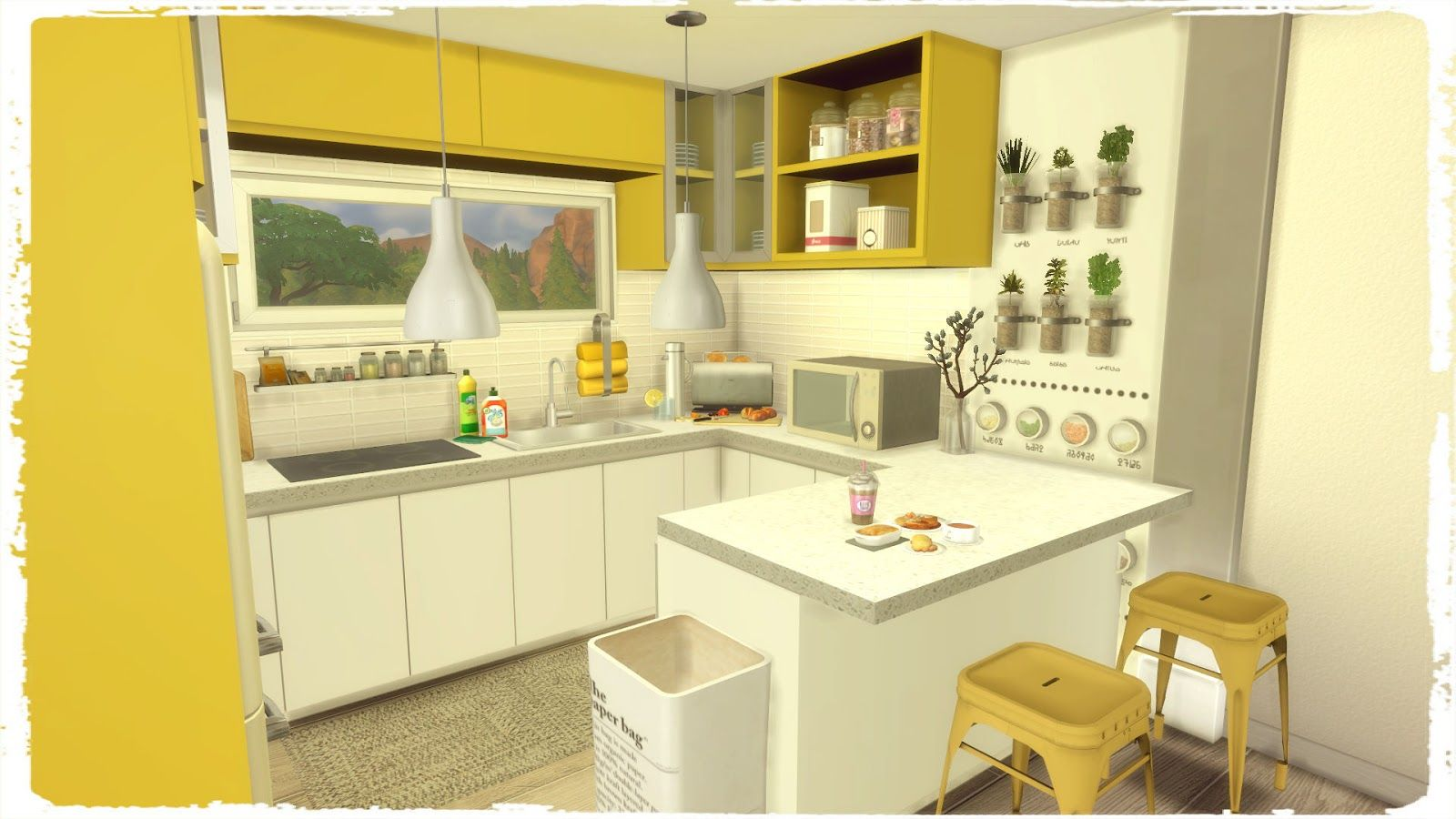 Sims 4 - Blue & Yellow Kitchen with Livingroom   Yellow ...