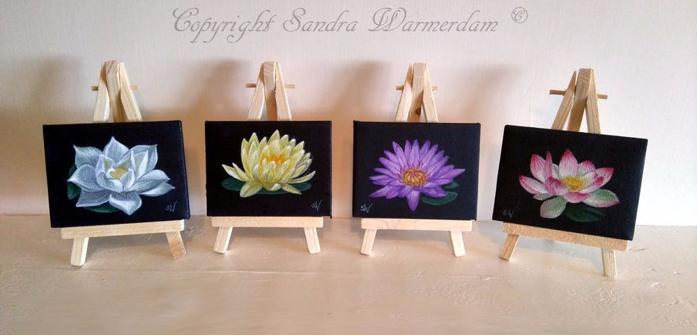 NEW: Hand painted Mini Canvases Lotus Flowers, set of 4