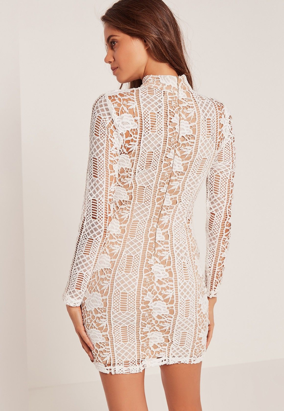 54e7ab1e9be3 Missguided - Lace Long Sleeve High Neck Bodycon Dress White ...