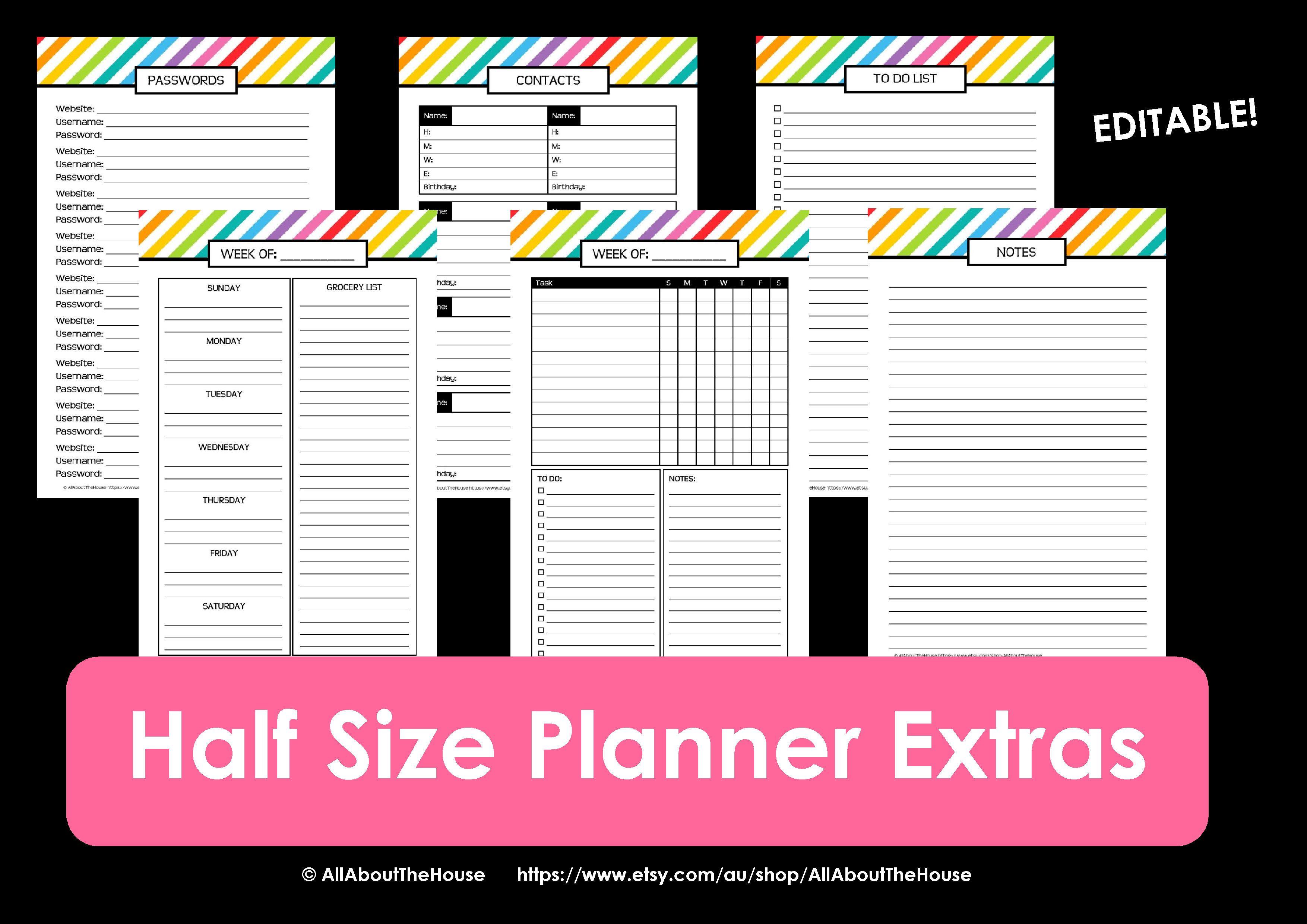 New Half Size Printable Planners for 2015 Printable