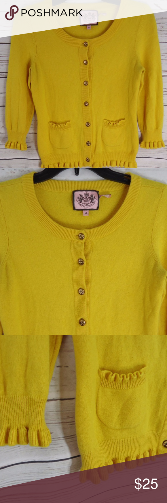 Juicy Couture Yellow Button Up Cardigan Sweater | Juicy couture ...