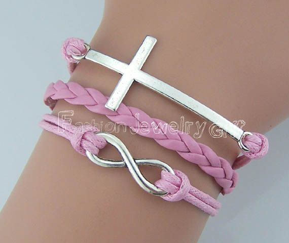 Infinity BraceletCross BraceletPink Wax Cod by FashionJewelryGift, $2.99 Infinity Bracelet,Cross Bracelet,Pink Wax Cod and Weave Leather,Antique Silver Bracelet,Friendship Jewelry