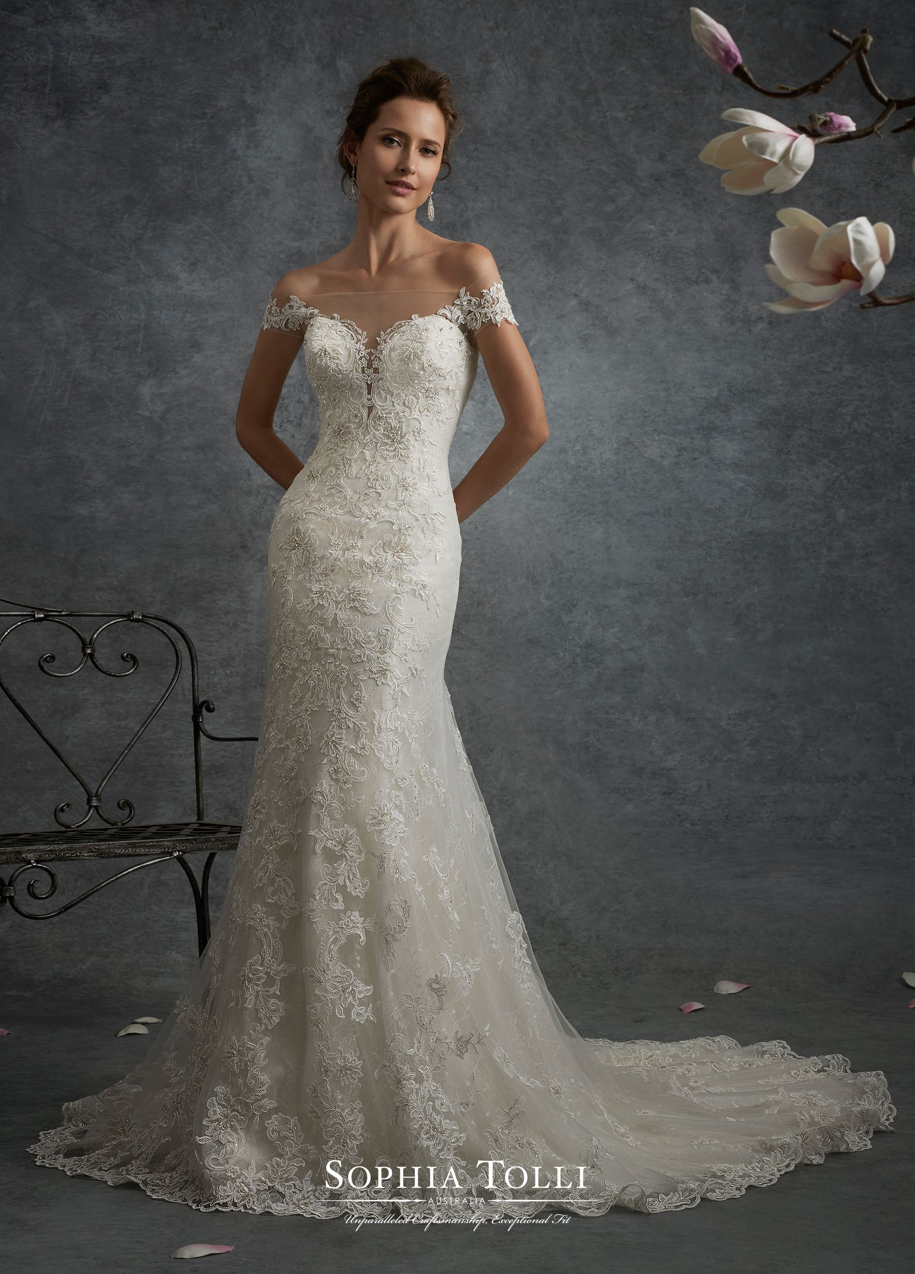 7c0e7d28cee3 Y21752 Cassiopeia - Off-the-shoulder misty tulle and allover lace fit and  flare gown adorned with hand-beaded lace appliqués