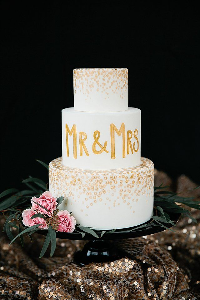 Painted Mr Mrs Wedding Cake