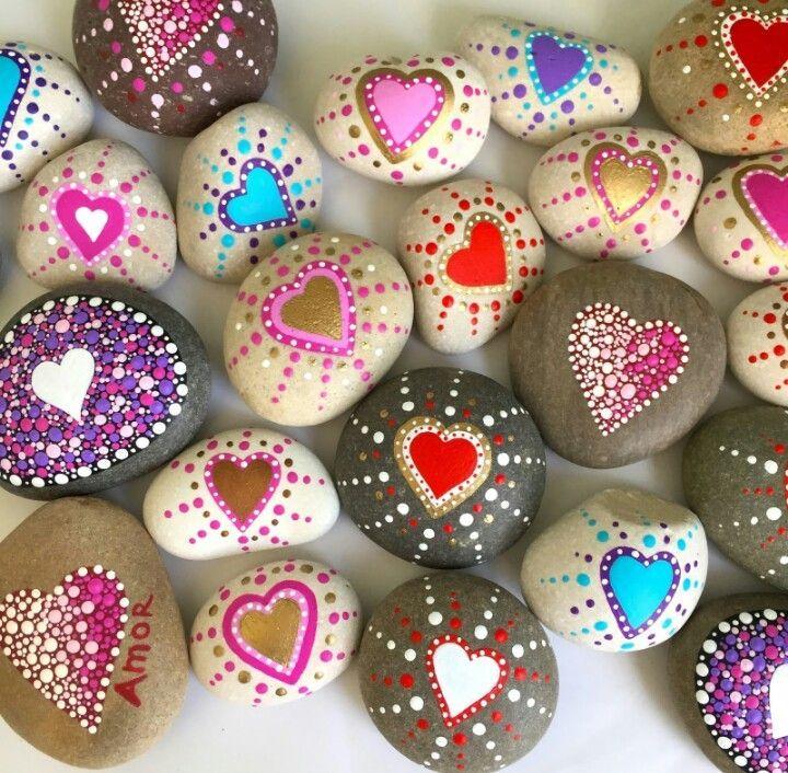Bemalte Steine, Herzen, painted Rocks... Selbstgemalt #bemaltesteine